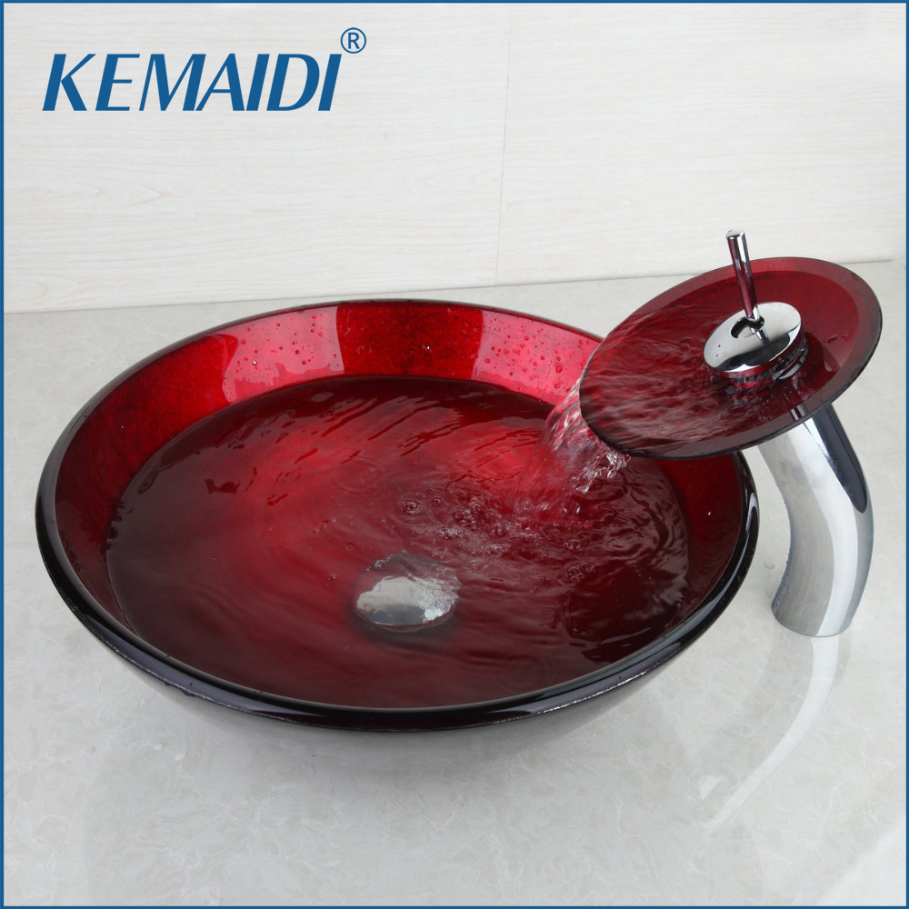 KEMAIDI Luxury Bathroom Sink Hand Paint Washbasin Tempered Glass Basin Sink  With Waterfall Faucet Taps Vessel Water Drain Set