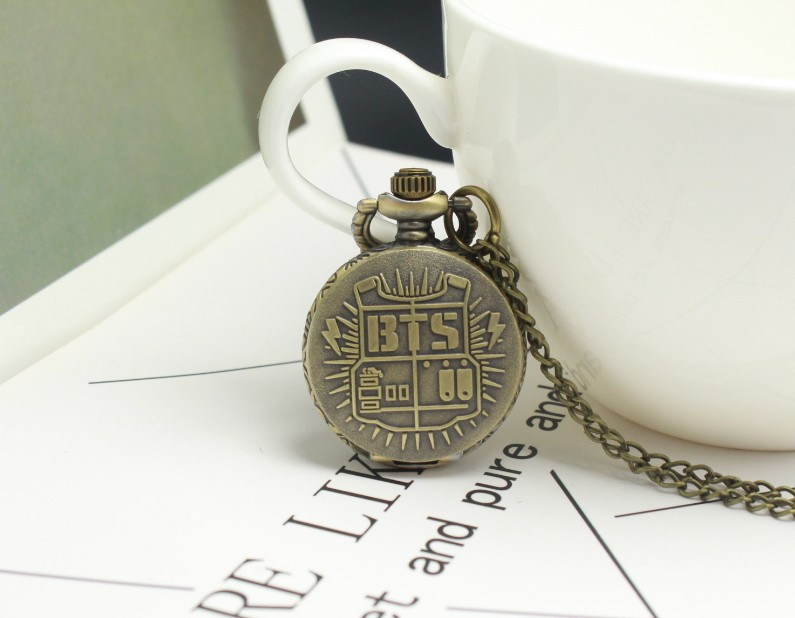 Antique Small Size BTS Bronze Quartz Pocket Watch Mens Womens Necklace Chain Pendant Analog Watch Gift Kids GIft