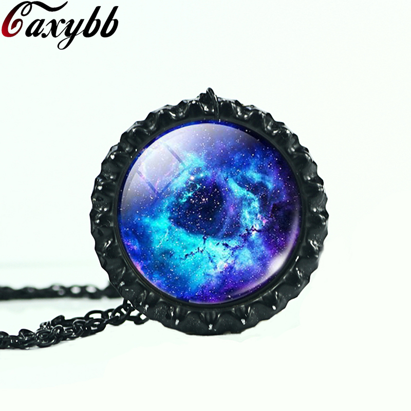2016 New Fashion Space Nebula Galaxy Cabochon Glass Pendants Necklaces Jewelry Brand Women Men Gift Best Friend Ship