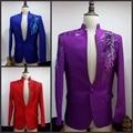 (Calças Jacket + + tie) terno masculino traje palco vestido de paetês Roxo masculino MC anfitrião do programa traje cantor masculino vestido de noiva terno