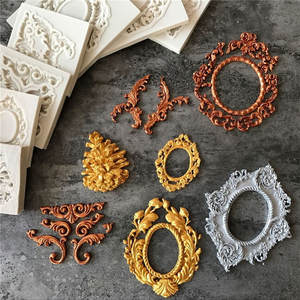 Retro Vintage Lace Photo Frame Fondant Food Grade Cake Silicone Candy Biscuits Molds Chocolate Cake Mould DIY Cupcake Decoration