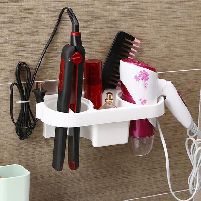 Double Hole Hair Dryer Storage Rack Shelf Plywood Organizer Plastic Bathroom