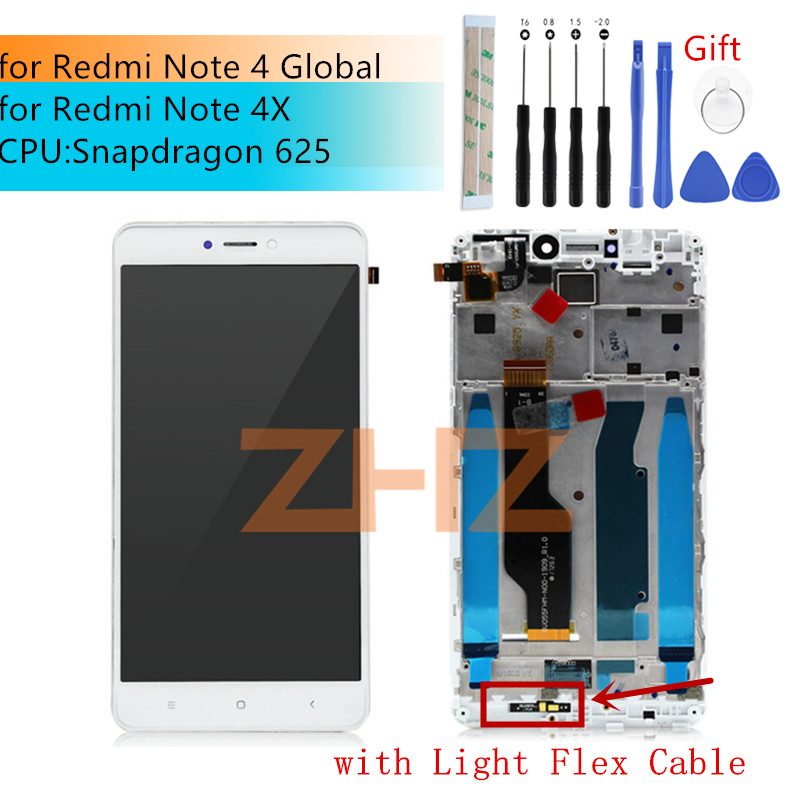 For Xiaomi Redmi Note 4 Global LCD Display Touch Screen Digitizer Assembly With Frame Note 4x Snapdragon 625 Repair Parts