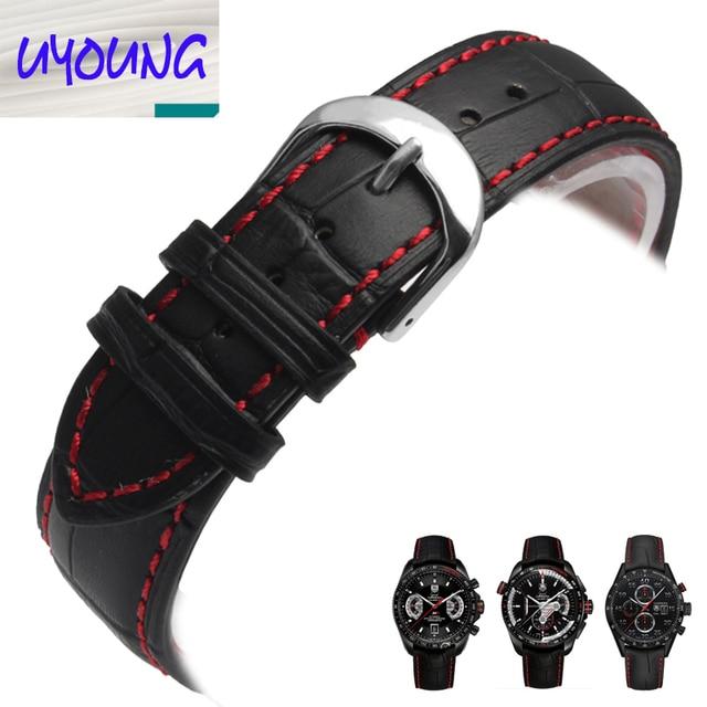Высокое качество 18 мм 20 мм 20 мм 22 мм ремешок для часов черный красный шить ремешок бесплатная доставка