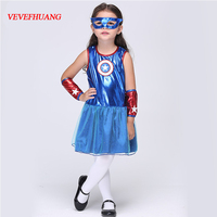 VEVEFHUANG Girls Captain America Costumes Lovely Kids Star Printed Superhero Dress Carnival Masquerade Party Cosplay Clothing