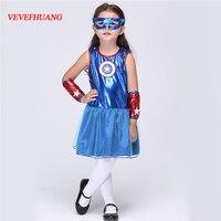 VEVEFHUANG Niñas Superhéroe Capitán América Trajes Encantadores Niños de la Estrella impresa Vestido de Carnaval Fiesta de Disfraces Cosplay Ropa