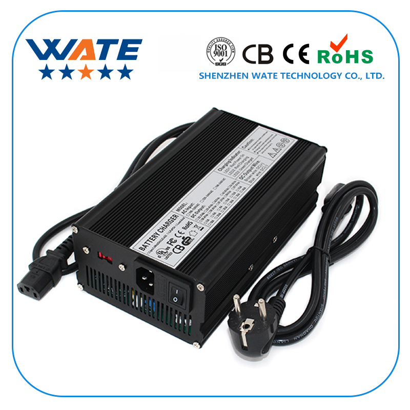 WATE 9S 33.3V Electric Bicycle Charger 37.8V 9A for lithium ion battery Aluminum shell With fan 16 8v 21a li ion battery charger for electric vehicle electic forklift electric golf cart aluminum shell with fan
