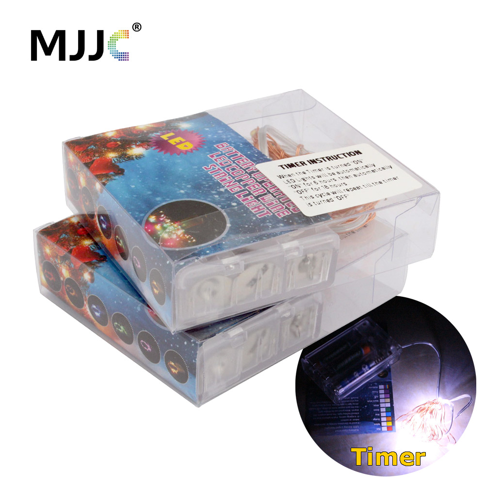 2M 20 LED Batteridrift Fairy Lights Timer Kobber Wire Jul Mariage Party Bryllup Dekor Garland Fairy Light Strings