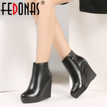 FEDONAS Classic Round Toe Women Wedges Quality Genuine Leather Women Ankle Boots High Heels Party Shoes Woman Winter Short Boots