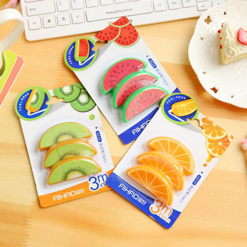 Set Of 3pcs Fresh Cute Lifelike Fruit Correction Tape Fita School Office  Supplies Stationery Papeleria Birthday Gift