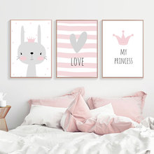 Kids Poster Animals Canvas Painting Wall Picture Room Nursery Art Nordic Pink Cartoon Rabbit Unframed