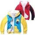 Despicable me2 minions spiderman Com Capuz casaco Bonito Do Bebê Meninas Da Criança Crianças Outerwear roupa Dos Miúdos roupas menino traje