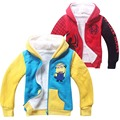 despicable me2 minions jacket Cute Baby Coat spiderman Hooded Girls Toddler Children Outerwear Kids clothes boy clothing costume