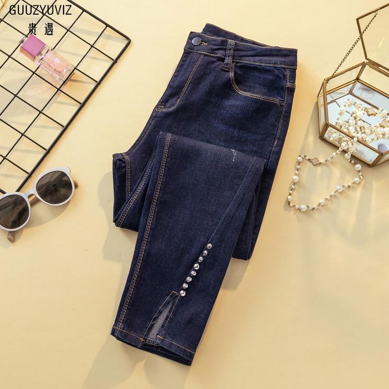 ed296b2133a GUUZYUVIZ повседневные джинсы женские большие размеры джинсовые узкие брюки  для женщин 4XL женские джинсы Высокая талия