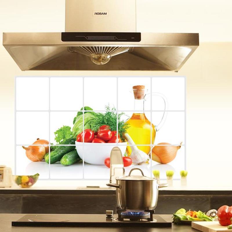 Self adhesive Fruits Vegetables Waterproof Wall Sticker Vinyl PVC Anti Oil Kitchen Wallpaper Heat Resistance DIY Home Decor