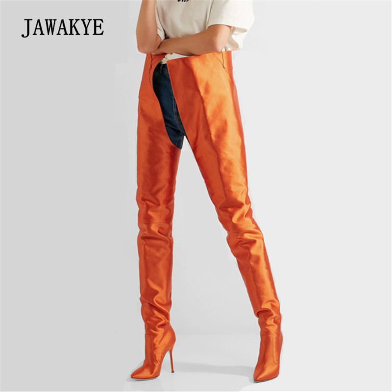 2017 Luxury Silk Over The Knee Boot Women Pointed Toe High Heel Shoes Women Fashion Runway Thigh High Boots 2017 luxury sexy silk over the knee long satin boots women pointed toe high heel shoes women fashion runway thigh high boots
