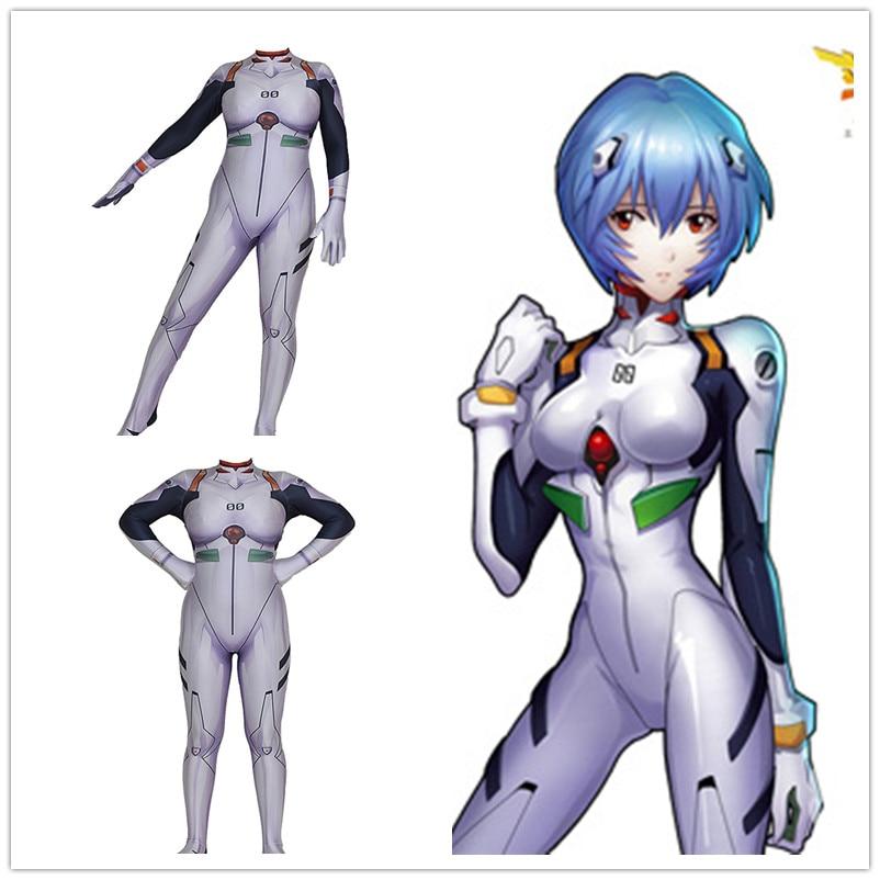 Anime Neon Genesis Evangelion EVA Ayanami Rei Cosplay Costume Women Long Sleeve Sexy Slim Romper Jumpsuit Bodysuit