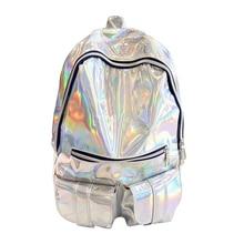Голографическая gammaray Голограмма Рюкзак Для женщин Серебро Голограмма лазерная рюкзак мужская кожаная сумка голографическая рюкзак