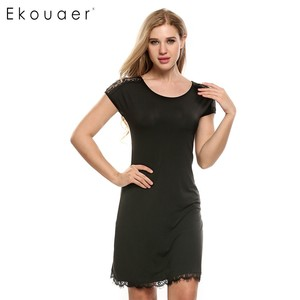 Image 4 - Ekouaer Lace Patchwork Nightgown Women Fashion O Neck Cap Short Sleeve Sleepwear Sexy Hollow Out Home Dress Casual Nightdress