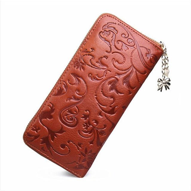 New Fashion Women Coin Purse Genuine Leather Bag Wallet For Women Brand Designer Flower Vintage Wallet Zipper Purse Bag Female