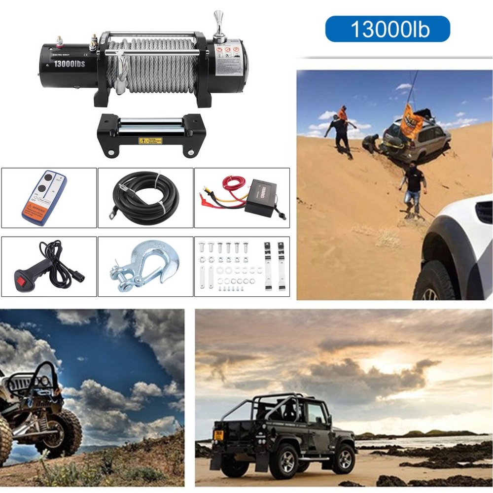 12V Electric Winch Remote Control Motor Vehicle Winch Load Capacity 13000lb/12000lb Powerful Accessories EU Plug Lifting Tool ...