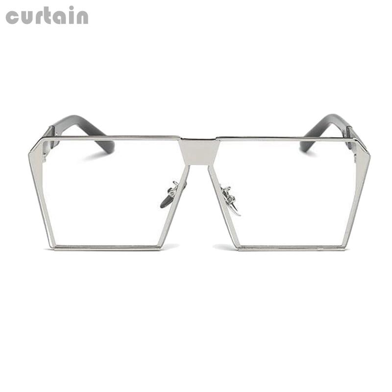 Unisex Square Flat Top Sun Glasses Transparent Silver frame Korean Mirror Women Sunglasses Men Eyeglasses XHH8218-10