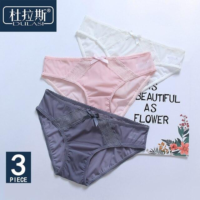 c060ae1ce26c 3pcs/lot Lace Sexy Panties Women Underwear Nylon Briefs Low Rise Waist  Seamless Silk Cute Pants Open Bikini for Girls