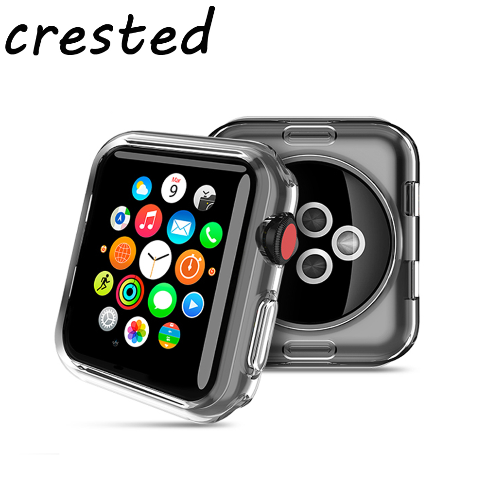CRESTED Screen protector case for apple watch 3/2/1 42mm/38mm silicone soft All-around Ultra-thin Clear Cover for Iwatch series 1 2 3 soft silicone case for apple watch cover 38mm 42mm fashion plated tpu protective cover for iwatch