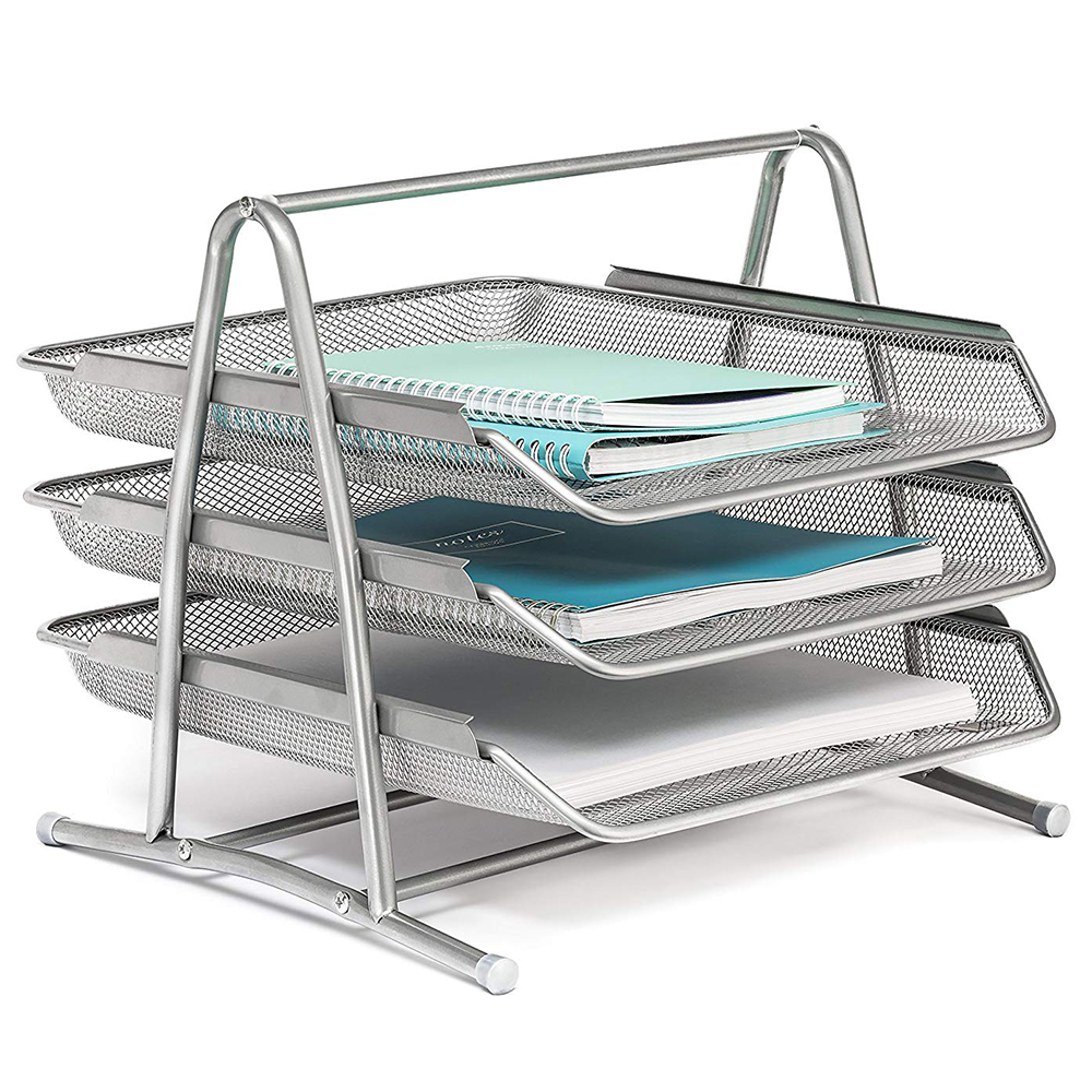 3 Tier Table File Tray Office Desktop Document Magazine Organizer Metal Mesh Paper File Holder Silver Tone kingfom 3 slots document tray file organizer file holder for office