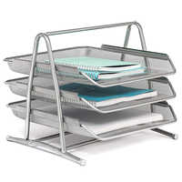 3 Tier Table File Tray Office Desktop Document Magazine Organizer Metal Mesh Paper File Holder Silver Tone