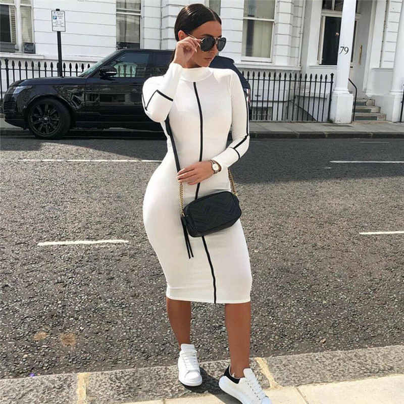 HTB1PB7rd9SD3KVjSZFKq6z10VXae Sexy Hihg neck long bodycon dress Women cotton fitness sundress elegant Sexy summer female christmas party dress