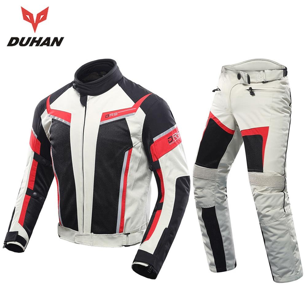 DUHAN Men Motorcycle Jacket + Motorcycle Pants Set Spring Summer Breathable Mesh Jacket Moto Pants Suit Clothing Protective Gear