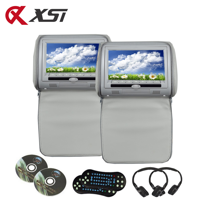 XST 2PCS 7 Inch Car Headrest DVD Player Monitor Digital TFT LCD Screen With USB SD IR FM Transmitter Speaker Game Remote Control