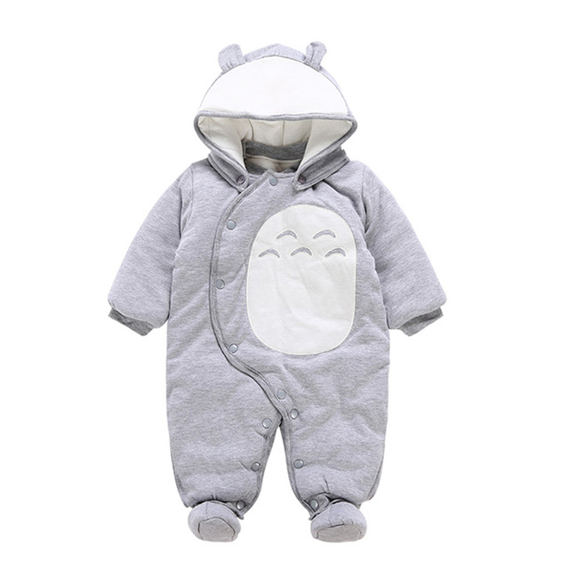 2618eb437 Cute Cartoon Newborn Baby Outfits Thick Warm Hooded Rompers Cotton ...