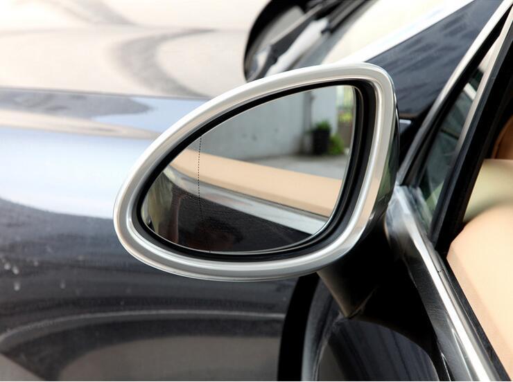 Accessories NEW 2PCS Matt Silver ABS Chrome Rearview mirror frame For Porsche Cayenne 2011 2014 Car