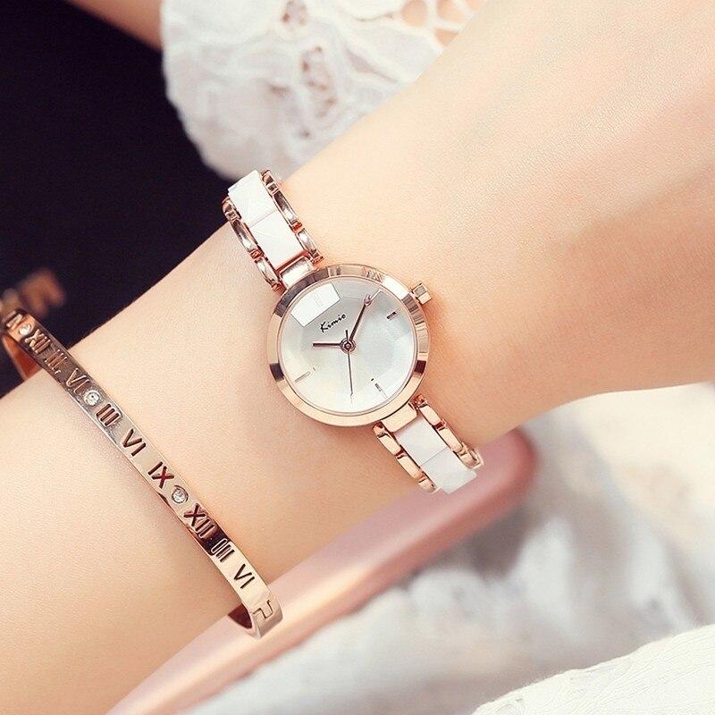 Famous Brand KIMIO Quartz-watch Women Watches 2016 Simulate Ceramic Ladies Bracelet Gold Watch Dress Womens Clock