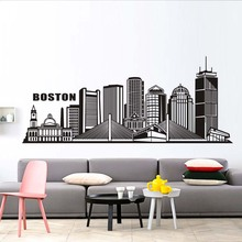 Boston City Wall Sticker Art Silhouette DIY Bedroom Living Room Home Decor PVC Waterproof Adhesive