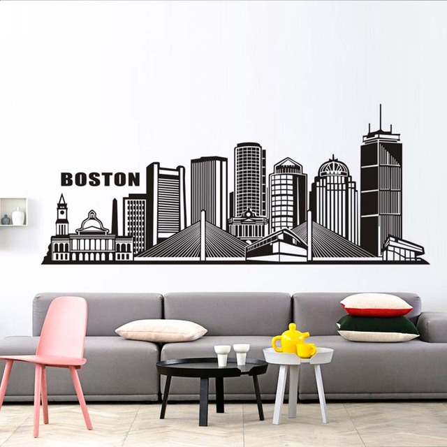 Boston City Wall Sticker Art Silhouette DIY Bedroom Living Room Home Decor  PVC Waterproof Adhesive Wall