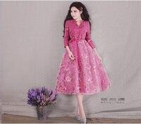 YANHTA Spring Summer Vintage Retro Elegant Floral Print Cotton Organza Patchwork Plus Size Long Dress Sz