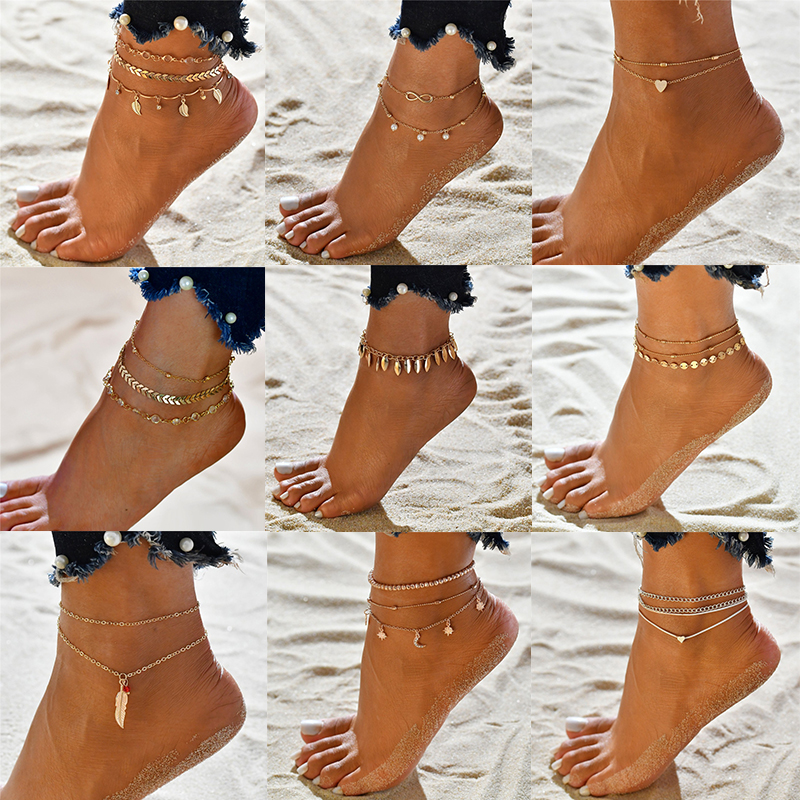 Modyle 3pcs/set Ankle Chain Pendant Anklet Metal Summer Beach Foot Jewelry Fashion Style Anklets for Women