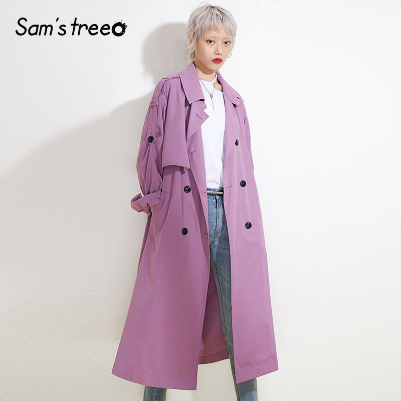 Women Spring Basic   Trench   Coats Long Wide-waisted Pink Turn-doen Collar Coats Outerwear Office Lady Trenchs with Waistband Belt