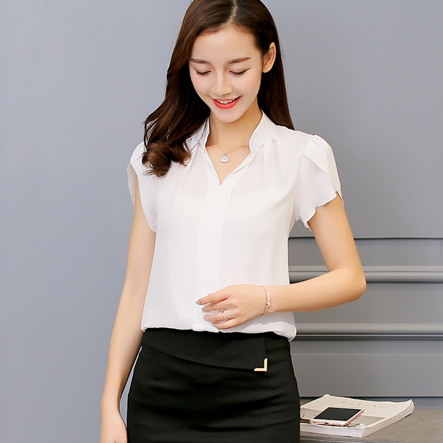 Hot Summer Autumn 2018 Plus Size 3XL White Shirt Female Big Sizes Short Sleeve Shirt Fashion Bodycon Leisure Chiffon Blouse Tops 3