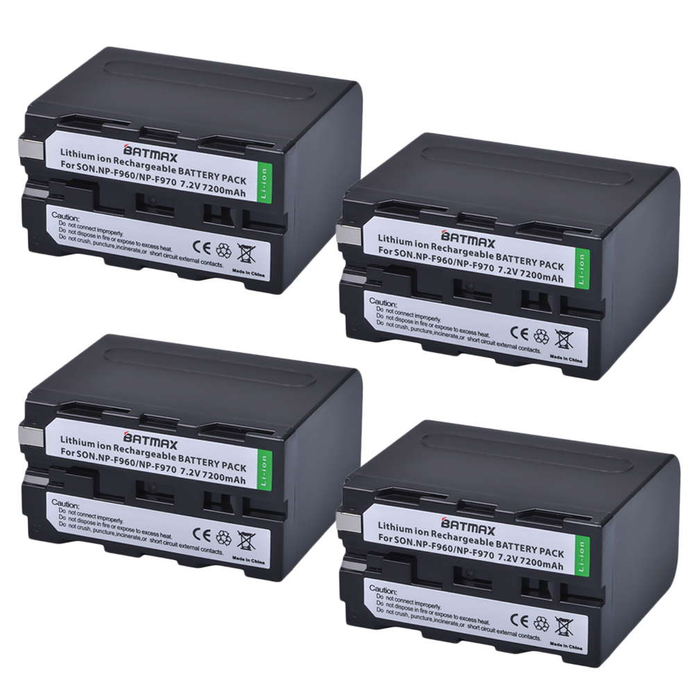 7.2V 7200mAh NP-F960 NP-F970 NP F970 NP F960 Camcorder batteries(4 Pack) for Sony NP-F550 F770 F750 F960 F970 np f960 f970 6600mah battery for np f930 f950 f330 f550 f570 f750 f770 sony camera