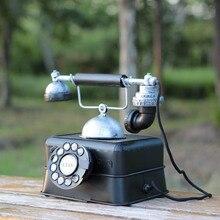 Антикварная имитация железного телефона, модель, винтажный Ретро телефон, миниатюры, креативный реквизит для фотосессии, украшение дома, ремесла, подарки