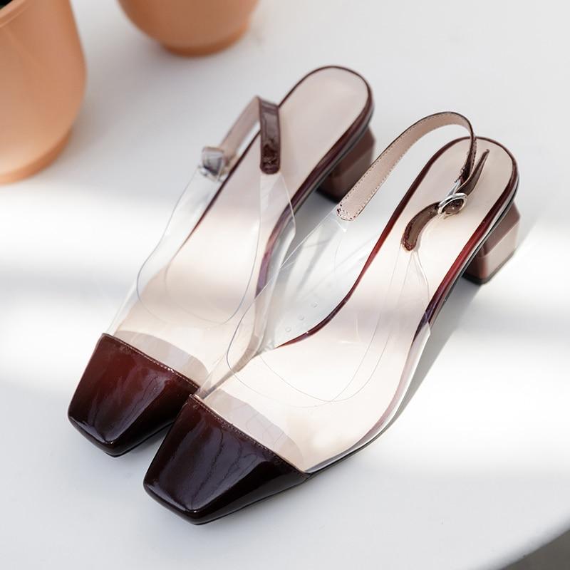ISNOM Patent Leder Sandalen Frauen Karree Schuhe Ungewöhnliche Ferse Hohe Sandalen Transparent Pvc Schuhe Party Schuhe Frau Sommer-in Hohe Absätze aus Schuhe bei  Gruppe 3