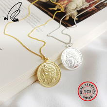 цены 100% 925 Sterling Silver Portrait Of Napoleon III Round Coin Statement Pendants Necklace Women Charms Choker Fine Boho Jewelry