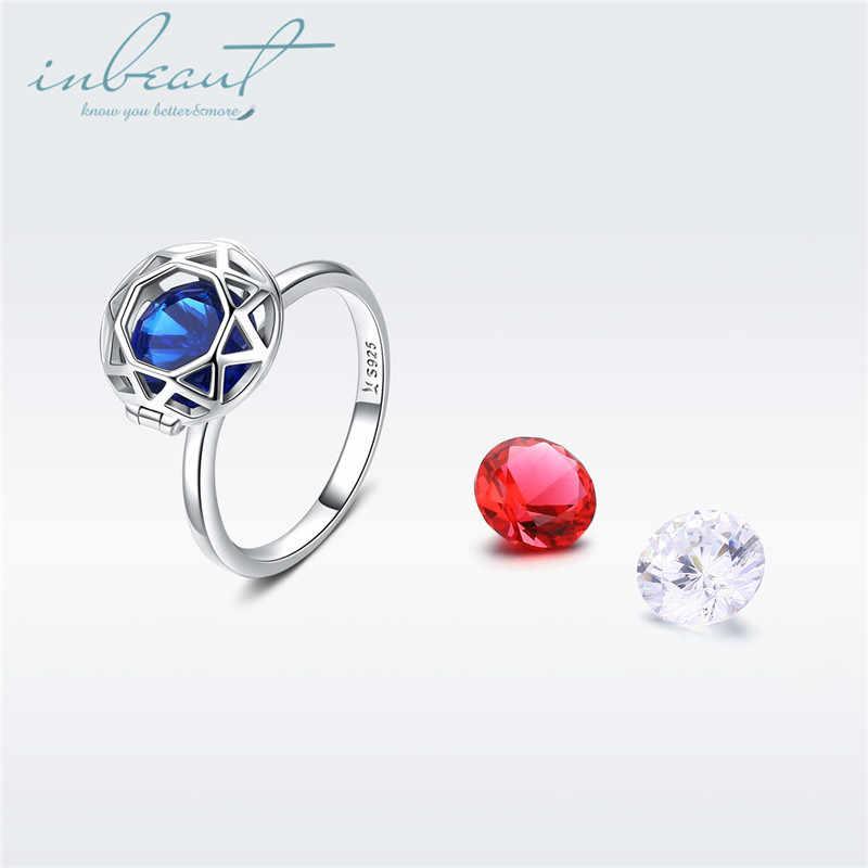 เงิน 925 DIY Perfect Cut SONA แหวนเพชรหญิง S925 Original Design ประกายรอบ Blue & Red ฟรี Choice แหวนหิน