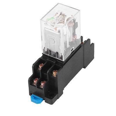цена на HH52P-L DC24V/DC12V/AC220V  Coil 8 Screw Terminals DPDT 35mm DIN Rail Power Relay w Socket