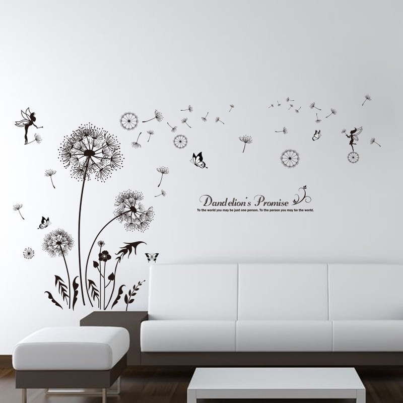 Shijuehezi Black Color Dandelions Wall Stickers Pvc Material Diy Flowers Decals For Living Room Bedroom Decoration In From Home