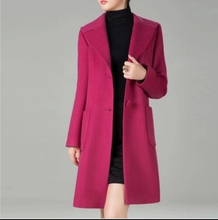2015 Autumn and winter New women's woolen outerwear Fashion slim medium-long cashmere overcoat plus size trench coat / M-4XL